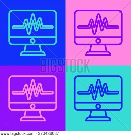 Pop Art Line Computer Monitor With Cardiogram Icon Isolated On Color Background. Monitoring Icon. Ec