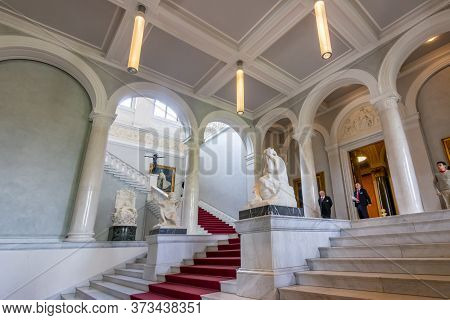 Berlin, Germany - May 2019: Old National Gallery Entrance On Museum Island