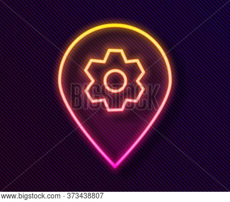 Glowing Neon Line Location With Car Service Icon Isolated On Black Background. Auto Mechanic Service
