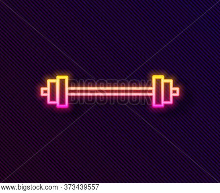 Glowing Neon Line Barbell Icon Isolated On Black Background. Muscle Lifting Icon, Fitness Barbell, G