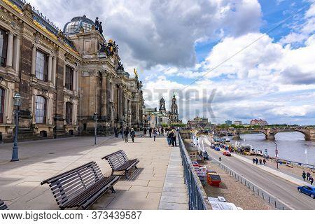 Dresden, Germany - May 2019: Bruhl's Terrace (balcony Of Europe) In Dresden