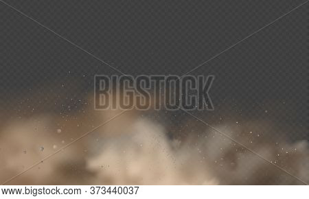 Dust Explosion, Sandstorm, Powder Burs On Transparent Background. Desert Wind With Cloud Of Dust And