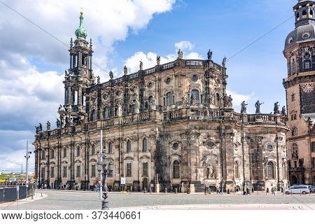 Dresden Cathedral (katholische Hofkirche) On Theaterplatz Square, Germany