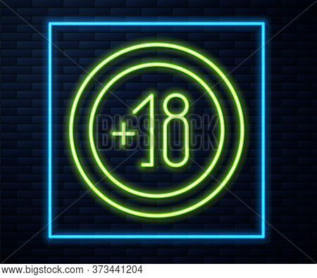 Glowing Neon Line Alcohol 18 Plus Icon Isolated On Brick Wall Background. Prohibiting Alcohol Bevera