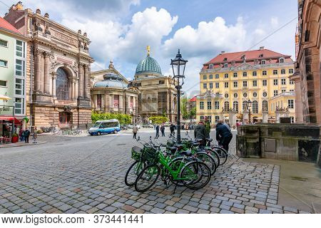 Dresden, Germany - May 2019: Neumarkt Square Architecture At Frauenkirche Church