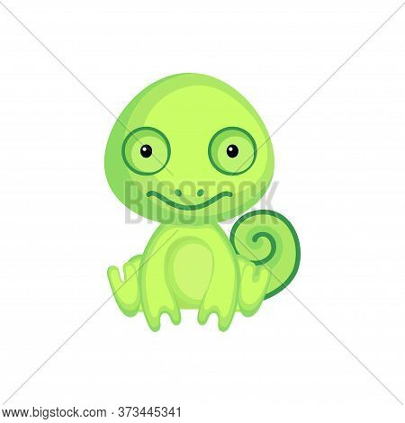 Cute Baby Chameleon Sitting Isolated On White Background. Adorable Animal Character For Design Of Al