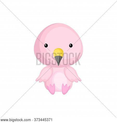 Cute Baby Flamingo Sitting Isolated On White Background. Adorable Animal Character For Design Of Alb