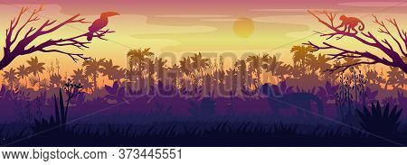 Amazonian Landscape With Palm Trees Silhouette, Toucan, Monkey, Panther. Rainforest Horizontal Panor