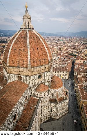 The Dome Of The Cathedral Of Saint Mary Of The Flower (florence Cathedral) In The Duomo Square As Se