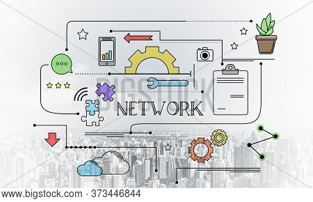 Network Connection Linear Sketch On Background Of Modern Cityscape. Strategy Planning And Analysis.
