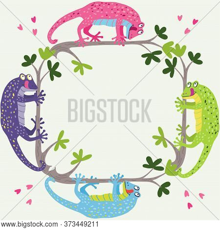 A Nice Square Frame With Cute Colorful Geckos Hanging On The Branches. Vector Hand Drawn Illustratio