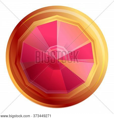 Gold Ruby Icon. Cartoon Of Gold Ruby Vector Icon For Web Design Isolated On White Background