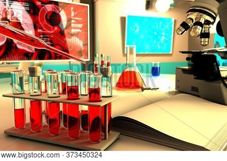 Medical 3d Illustration, Lab Proofs Vials In Research Clinic - Blood Test For Virus (like Covid-19)