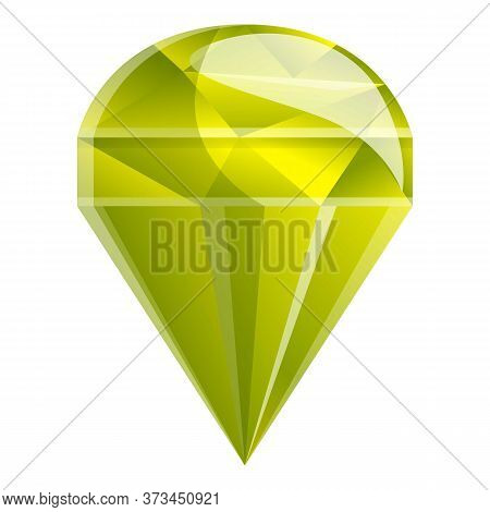 Yellow Gemstone Icon. Cartoon Of Yellow Gemstone Vector Icon For Web Design Isolated On White Backgr