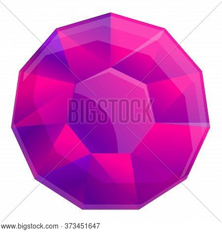 Purple Gem Icon. Cartoon Of Purple Gem Vector Icon For Web Design Isolated On White Background