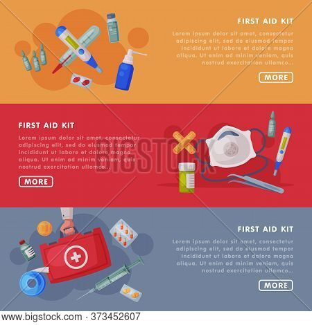 First Aid Kit, Medical Equipment And Medications Landing Page Templates Set, Emergency Service Tools