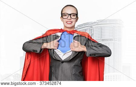 Happy Business Woman Tearing Off Her Shirt And Transforming In Super Heroine. Business Lady With Red