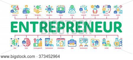 Entrepreneur Business Minimal Infographic Web Banner Vector. Entrepreneur Businessman And Agreement,