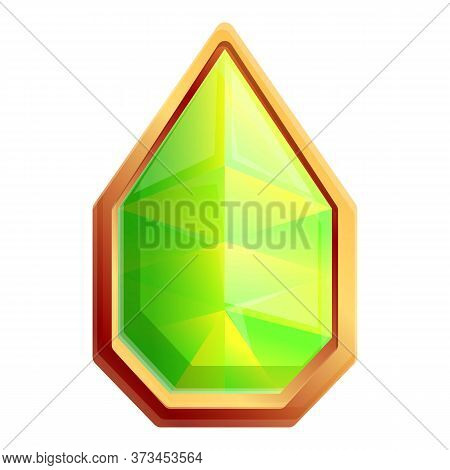 Magic Green Gem Icon. Cartoon Of Magic Green Gem Vector Icon For Web Design Isolated On White Backgr