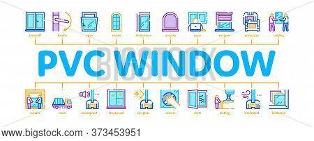 Pvc Window Frames Minimal Infographic Web Banner Vector. Pvc Window Architectural Glass Building Det