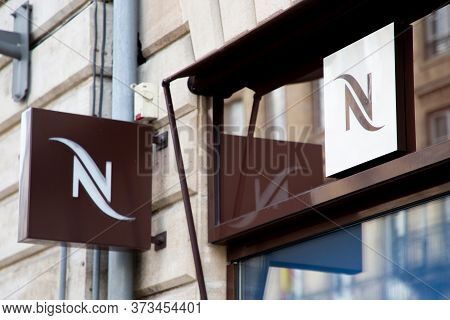 Bordeaux , Aquitaine / France - 11 30 2019 : Nespresso Boutique Sign Logo Store Brand Of Coffe Doses