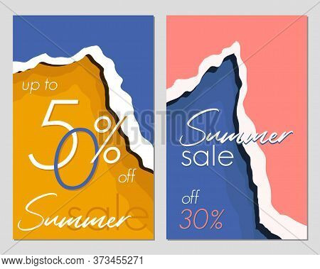 Template For A Summer Sale Banner. Summer Abstract Geometric Background. Fashionable Abstract Backgr