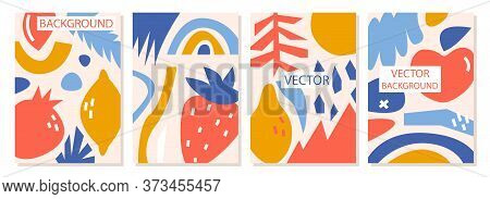 A Set Of Backgrounds With Abstract Shapes And Forms, Modern Graphic Design. Perfect For Social Media