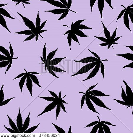 Seamless Pattern Of Black Marijuana On A Violet Background.black Hemp Leaves On A Violet Background.