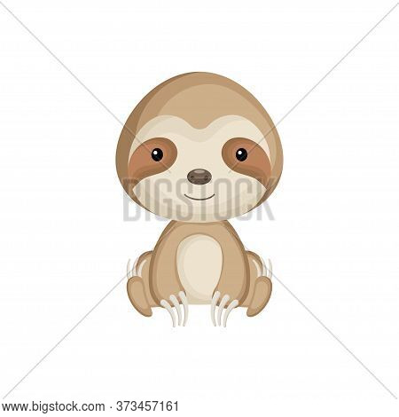 Cute Baby Sloth Sitting Isolated On White Background. Adorable Animal Character For Design Of Album,