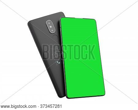 Presentation Of A Mobile Application On The Phone Screen Mobile Phone With Blank Green Screen 3d Ren