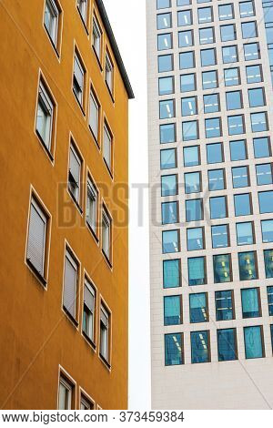 Frankfurt, Germany - June 12, 2019: Commercial finance building in Frankfurt, Germany.