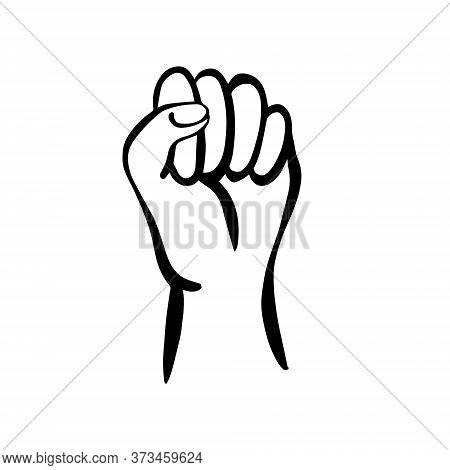 The Hand In The Fist Is Raised Up, Isolated On A White Background. The Fist Is A Symbol Of Feminism,