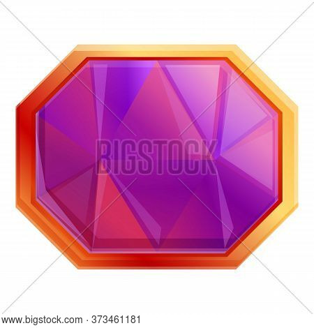 Gemstone Achievement Icon. Cartoon Of Gemstone Achievement Vector Icon For Web Design Isolated On Wh