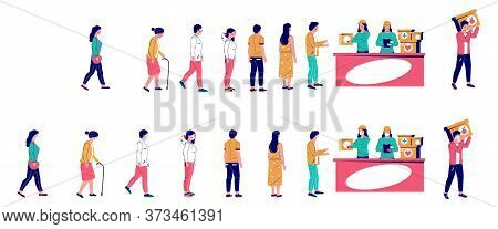 People Waiting In Line For Humanitarian Aid, Vector Flat Illustration