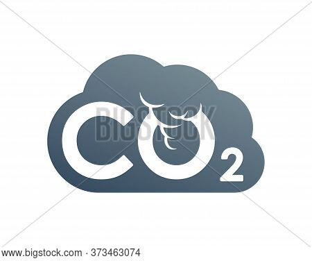 Co2 Emissions Icon - Harmful Air Carbon Contamination Emblem In Cloud Form - Isolated Vector Sign