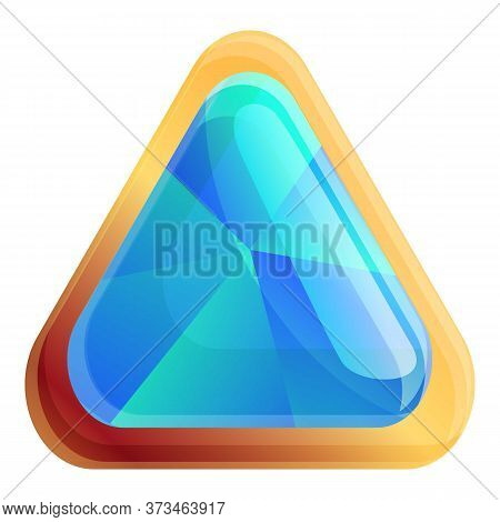 Triangle Gemstone Icon. Cartoon Of Triangle Gemstone Vector Icon For Web Design Isolated On White Ba