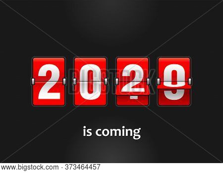 2020 Is Coming - New Year Flip Countdown Time Remaining Counter With Half Flipped From 2019 To 2020