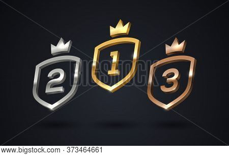 Set Of Rank Emblems - Gold, Silver, Bronze. Shield With Rank Number And Crown. First Place, Second P