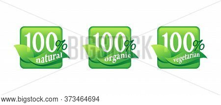 100 Natural, 100 Organic, 100 Vegetarian Food Sticker Set For Healthy Nutrition Badge In 3 Variation