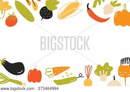 Postcard With Different Vegetables. Template With Space For Text. Template For Menu Design, Postcard