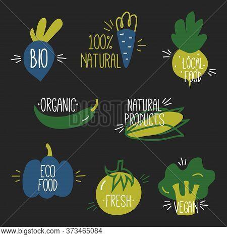Vegan, Fresh, Bio, Eco, Organic And Healthy Logos And Badges, Labels, Tags, Badges. Hand Drawn Vecto