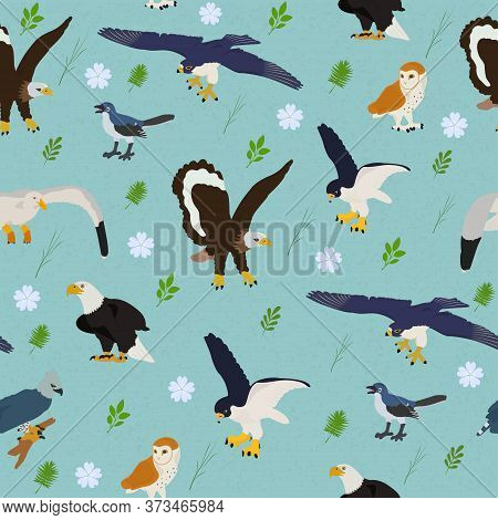 Seamless Vector Pattern With An Eagle, Falcon And An Owl On A Blue Background