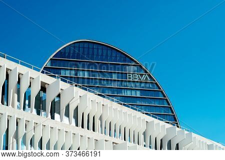 Madrid, Spain - June 19, 2020: Bbva Bank Headquarter In Las Tablas Area