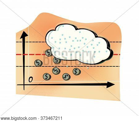 Business Forecast Of Weather And Precipitation In The Form Of Dollar Coins. Humorous Illustration