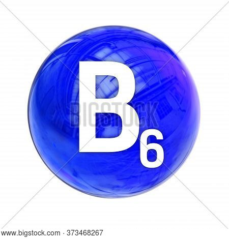 Vitamin B6 Sphere Molecule For Healthcare Medical Pharmacy. Shining Symbol Of Vitamin B6.  Vitamin I