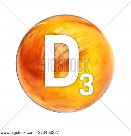 Vitamin D3 Sphere Molecule For Healthcare Medical Pharmacy. Shining Symbol Of Vitamin D3. Vitamin Ic