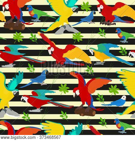 Seamless Vector Background With Parrots And Tropical Plants