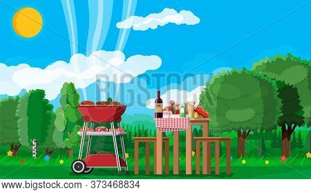 Bbq Party Or Picnic. Table With Bottle Of Wine, Vegetables, Cheese, Can Of Beer. Electric Grill With