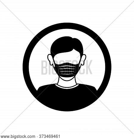 Face Mask Man Icon Isolated On White Background, Face Mask Vector Design Illustrations. Face Mask Ic