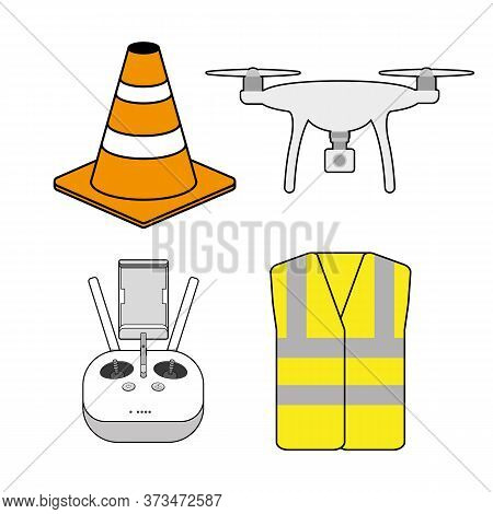 Aerial Drone Pilot Equipment And Safety Icons Vector Drone, Controller, Cone, Hi Vis